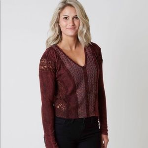 Gimmicks Pieced Lace Top Burgundy